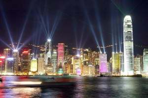 hong kong with spotlights