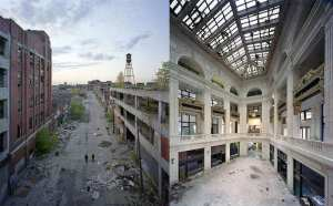 ruins of detroit street view