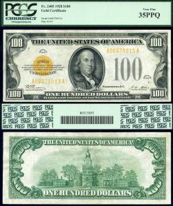1928$100GoldCertificate