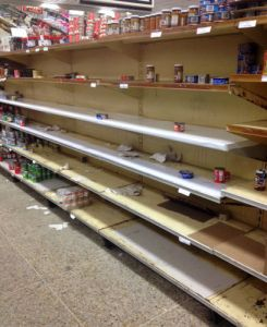 Empty Venezuelan store shelves